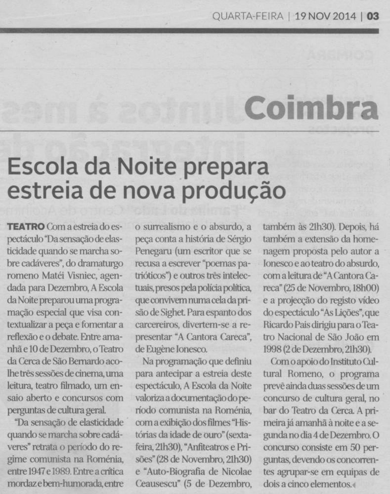 Diário de Coimbra, 19/11/2014