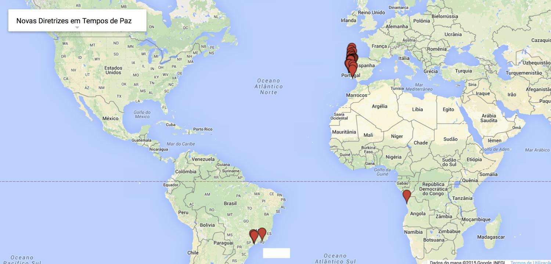 """Digressão de """"Novas diretrizes em tempos de paz"""". Clique no mapa para ver detalhes."""
