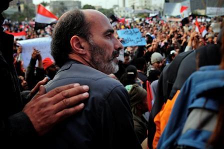 José Manuel Rosendo na Praça Al Tharir, Egipto) em Fevereiro de 2011 (foto: Fadi)