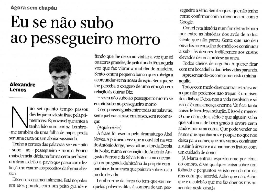 Crónica de Alexandre Lemos no Diário de Coimbra, 15 de Março