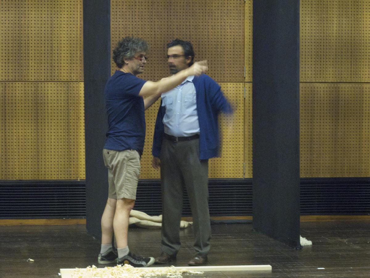 """Cándido Pazó e Ricardo Kalash, ensaio de """"A Canoa"""""""