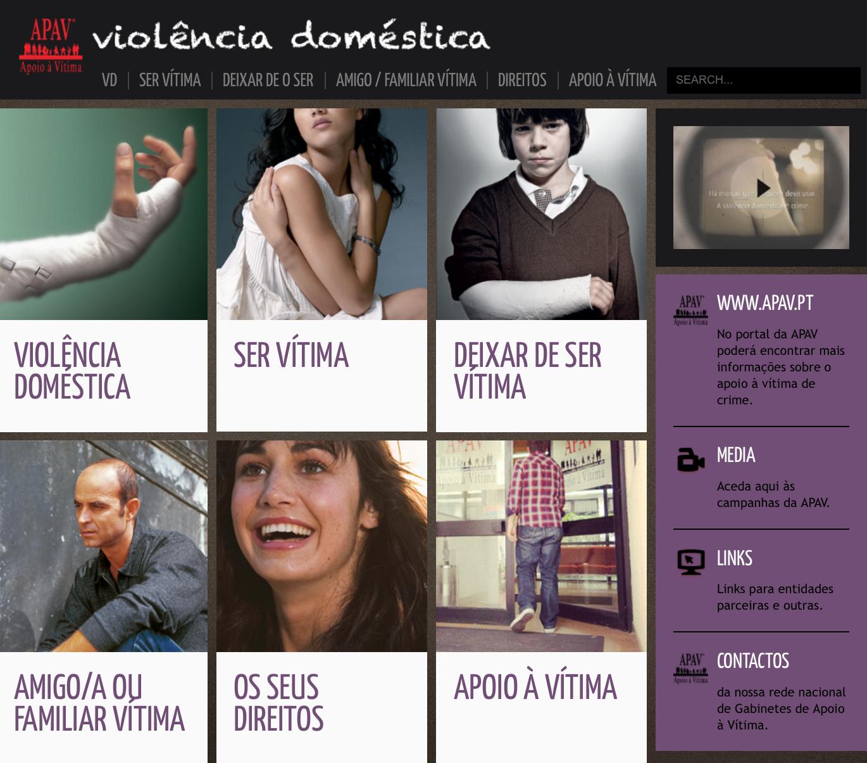 imagem do site da APAV especificamente dedicado à violência doméstica (clique para aceder)